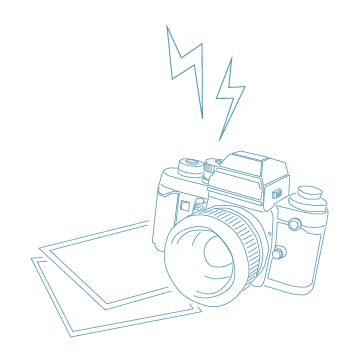 カメラのイラスト(青の線画)