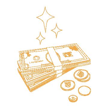 お金のイラスト(オレンジの線画)