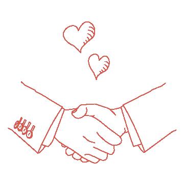 握手をしているイラスト(赤の線画)