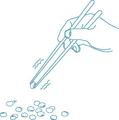 一生懸命箸で豆をつまむイラスト(線画)