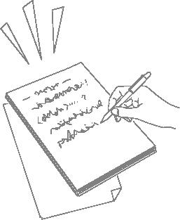 ノートに文字を書いているイラスト(線画)